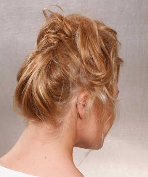 Long Curly Casual   Updo Hairstyle   -  Copper Blonde Hair Color - Side on View