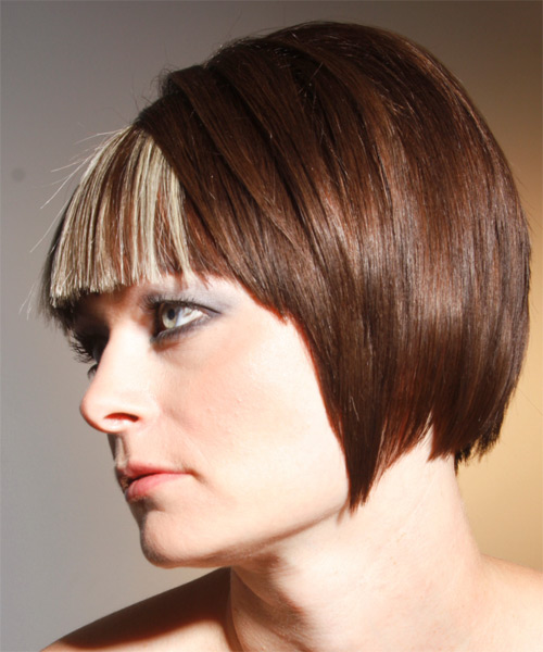Medium Straight Alternative    Hairstyle   - Side on View