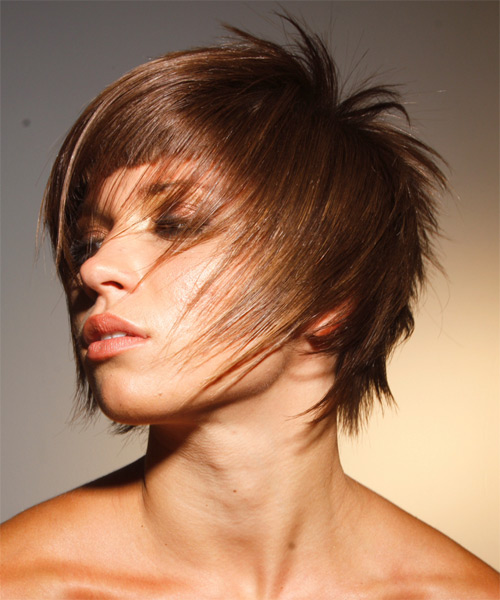 Short Straight    Chestnut Brunette   Hairstyle   - Side on View