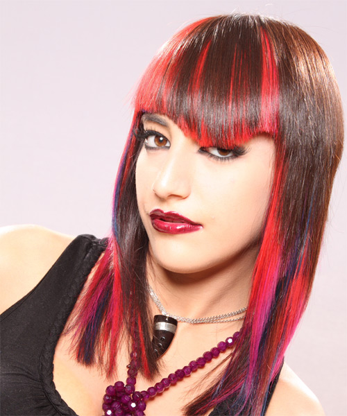 Long Straight Alternative    Hairstyle   - Pink  Hair Color - Side on View