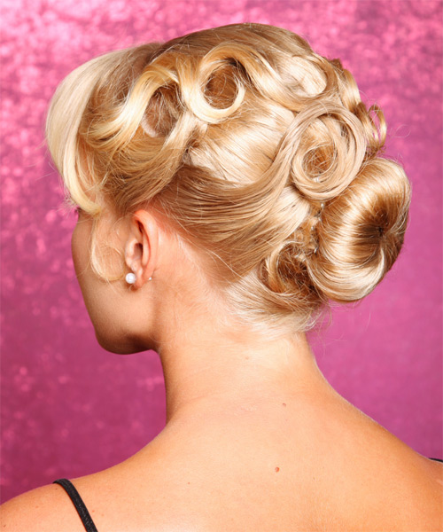 Updo Long Curly Formal  Updo Hairstyle   - Medium Blonde (Golden) - Side on View