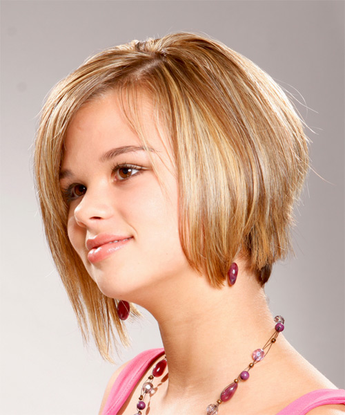 Short Straight Formal   Hairstyle   - Medium Blonde (Golden) - Side on View