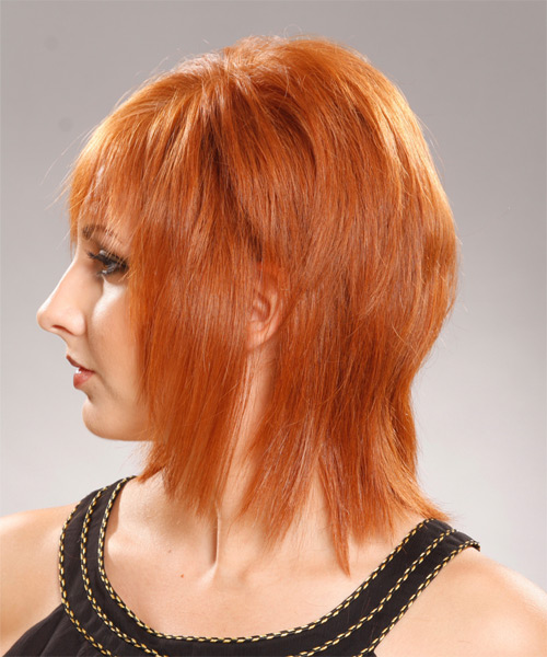 Medium Straight Formal   Hairstyle with Layered Bangs  - Medium Red (Ginger) - Side on View