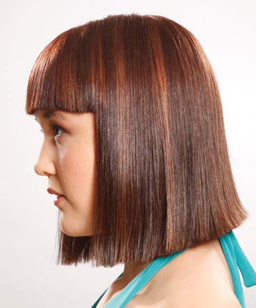 Medium Straight    Auburn Brunette   Hairstyle with Blunt Cut Bangs  - Side on View