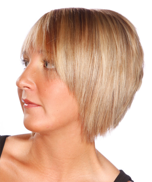 Short Straight Casual    Hairstyle   - Light Honey Blonde Hair Color - Side on View