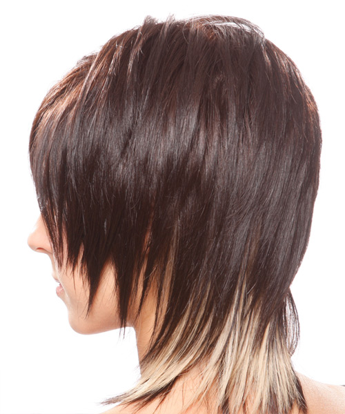 Medium Straight   Chocolate   Hairstyle with Side Swept Bangs  - Side on View