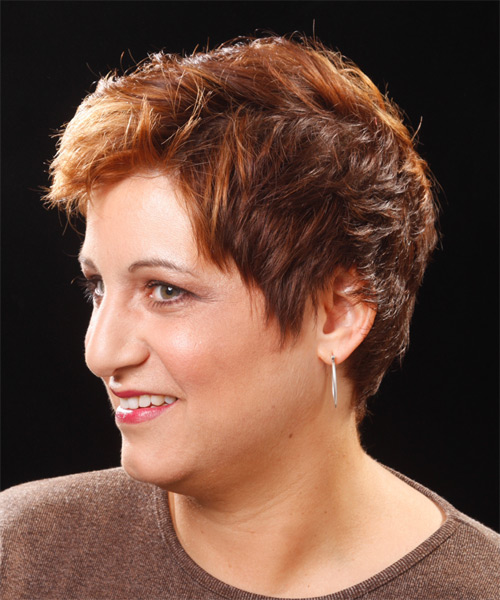 Short Wavy    Copper Brunette   Hairstyle   - Side on View