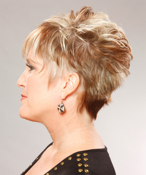 Short Straight Formal   Hairstyle   - Dark Blonde (Copper) - Side on View
