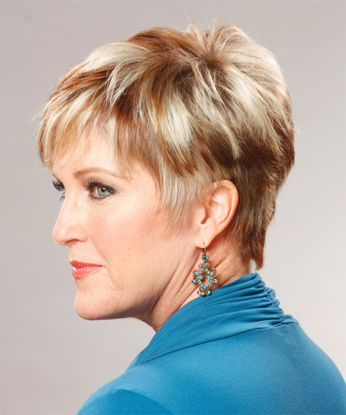 Short Straight Formal   Hairstyle   (Copper) - Side on View