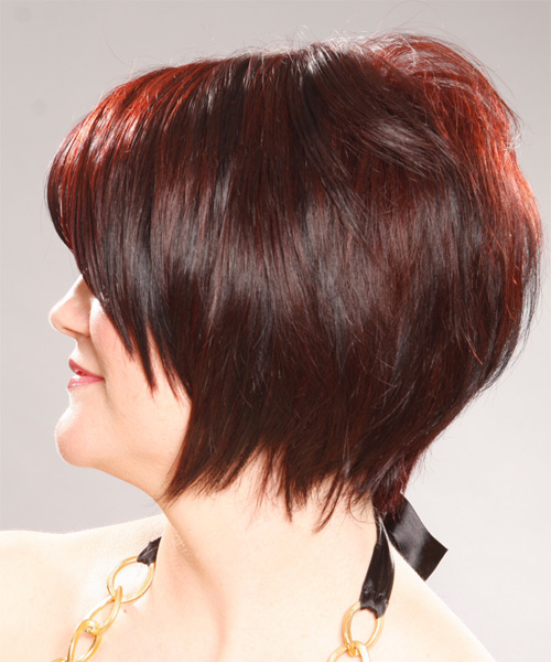 Medium Straight Formal   Hairstyle with Side Swept Bangs  - Medium Red (Burgundy) - Side on View