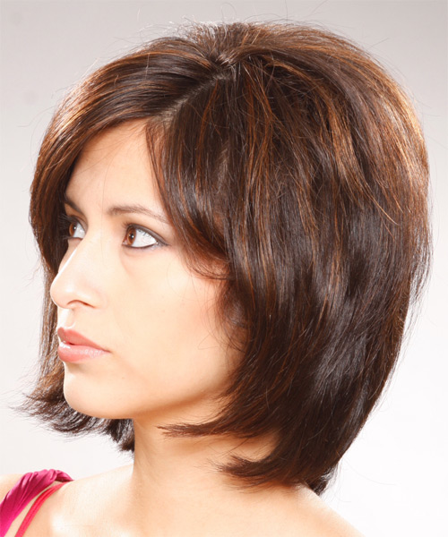 Medium Straight    Brunette Bob  Haircut with Side Swept Bangs  - Side on View