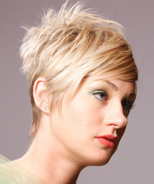 Short Straight Alternative    Hairstyle   - Side on View