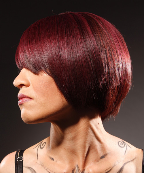Medium Straight Alternative   Hairstyle   - Medium Red - Side on View