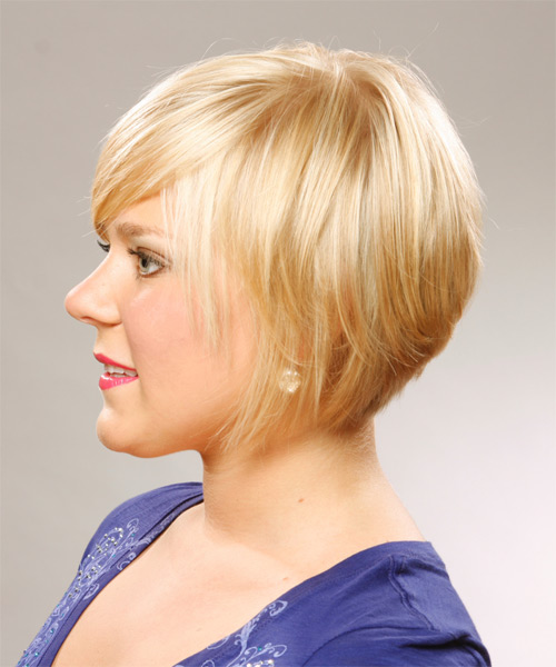Short Straight Casual   Hairstyle with Side Swept Bangs  (Honey) - Side on View