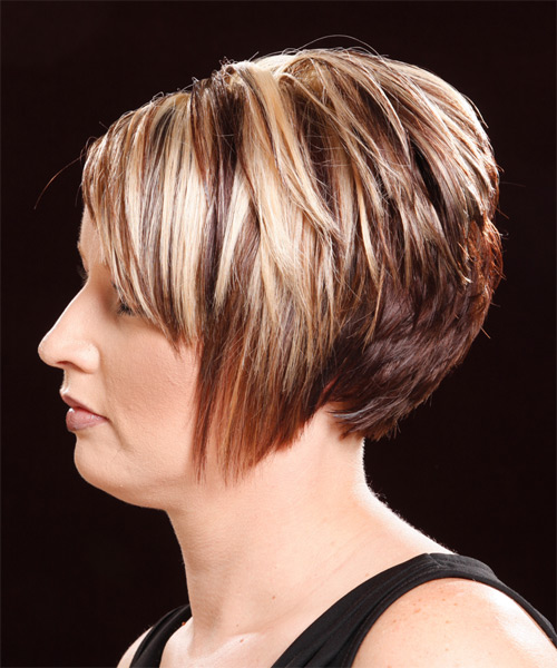 Short Straight Casual    Hairstyle   - Dark Copper Blonde Hair Color - Side on View