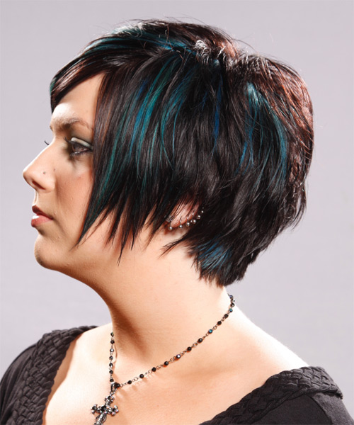 Short Straight   Dark Brunette   Hairstyle   with Green Highlights - Side on View