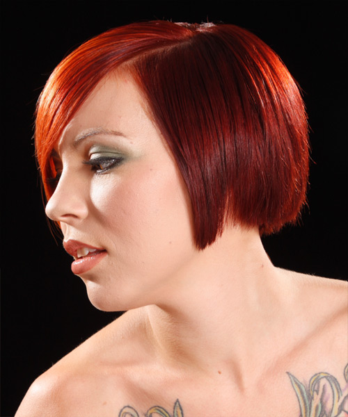 Short Straight Alternative   Hairstyle   - Medium Red (Bright) - Side on View