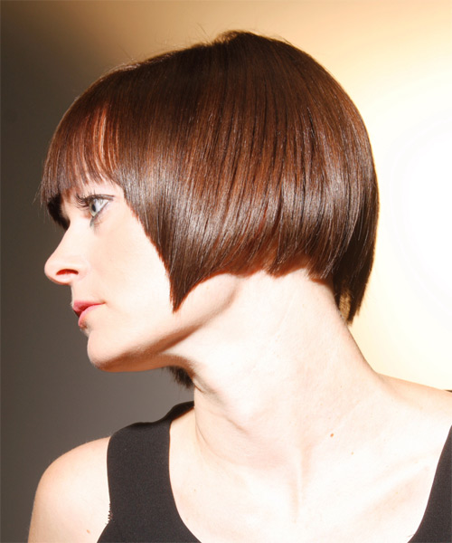 Medium Straight   Light Chestnut Brunette   Hairstyle with Blunt Cut Bangs  - Side on View
