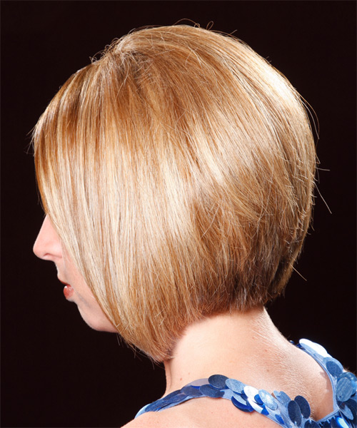 Medium Straight Formal  Bob  Hairstyle   - Dark Copper Blonde Hair Color with Light Blonde Highlights - Side on View