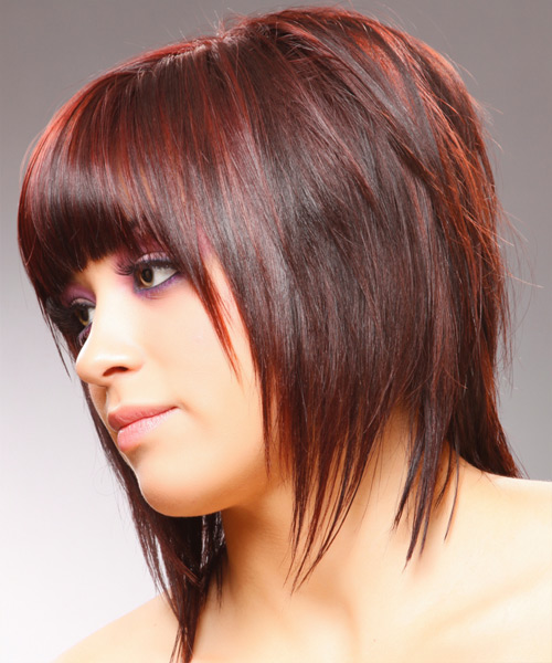 Medium Straight Layered   Red Bob  Haircut with Blunt Cut Bangs  - Side on View