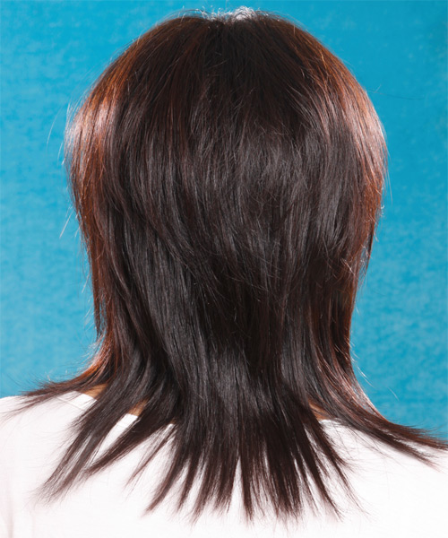 Long Straight Casual    Hairstyle with Side Swept Bangs  - Dark Brunette Hair Color - Side on View