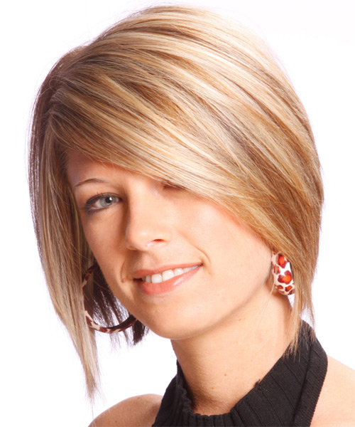 Medium Straight Formal   Hairstyle   - Medium Blonde - Side on View