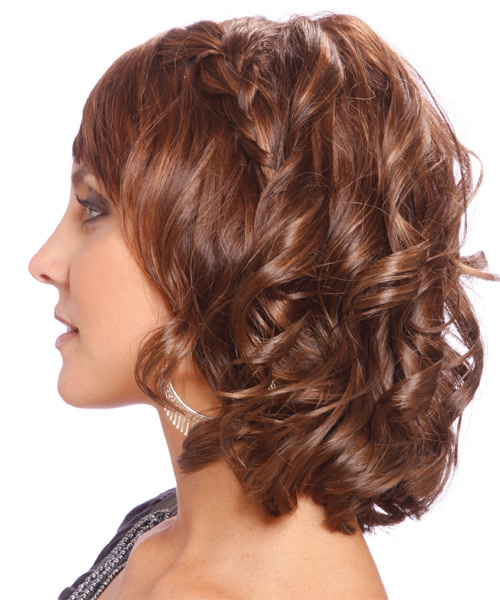 Medium Wavy   Light Chocolate Brunette   Hairstyle with Side Swept Bangs  - Side on View