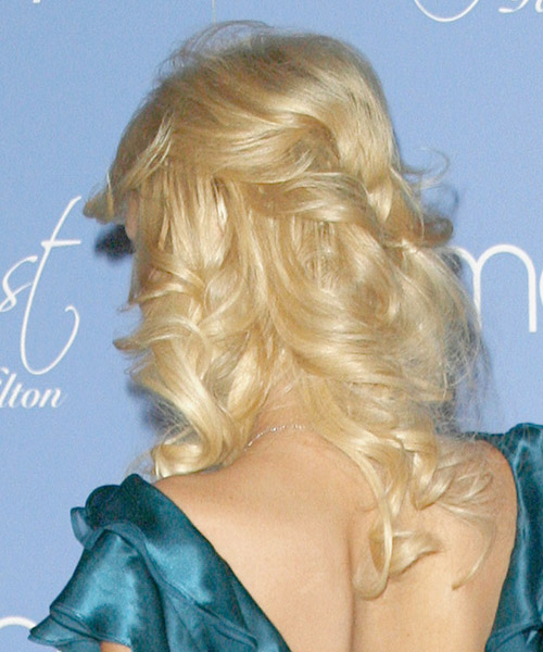 Paris Hilton Half Up Long Curly Formal  Half Up Hairstyle with Side Swept Bangs  - Light Blonde (Golden) - Side on View