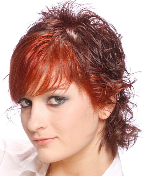 Short Wavy Alternative   Hairstyle with Side Swept Bangs  - Medium Red - Side on View