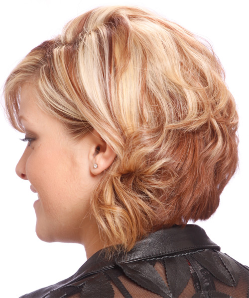Medium Wavy Formal   Hairstyle with Side Swept Bangs  (Strawberry) - Side on View