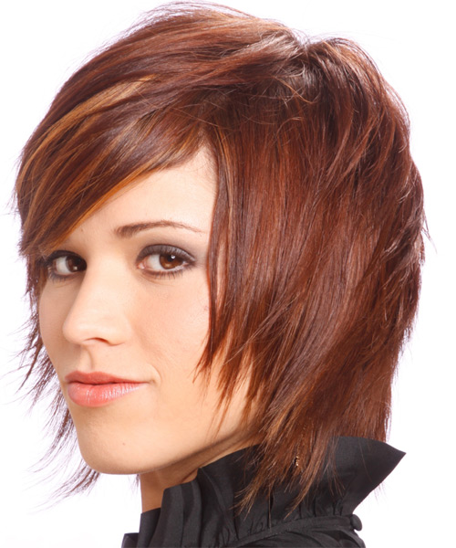 Medium Straight    Burgundy Red   Hairstyle with Side Swept Bangs  and Orange Highlights - Side on View