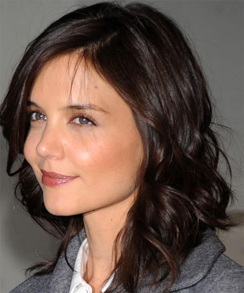 Katie Holmes Long Wavy Casual   Hairstyle with Side Swept Bangs  - Side on View