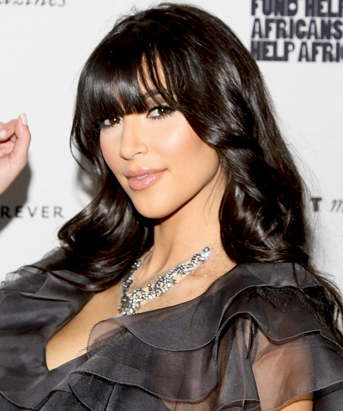 Kim Kardashian Long Wavy Casual   Hairstyle with Blunt Cut Bangs  - Side on View