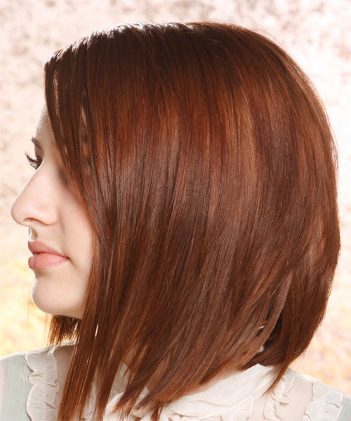 Medium Straight Alternative  Asymmetrical  Hairstyle   -  Auburn Brunette Hair Color - Side on View