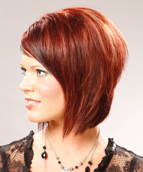 Medium Straight   Light Bright Red Bob  Haircut with Side Swept Bangs  - Side on View