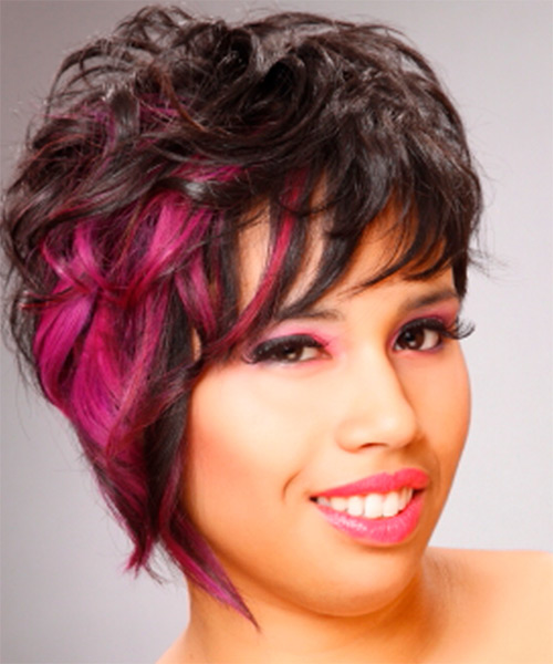 Short Wavy   Black    Hairstyle   with Pink Highlights - Side on View