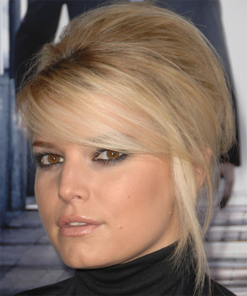 Jessica Simpson Updo Long Straight Formal Wedding Updo Hairstyle with Side Swept Bangs  - Medium Blonde - Side on View