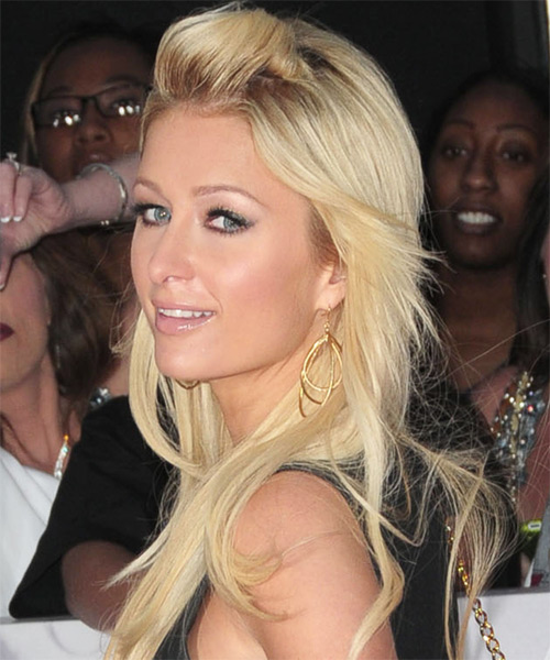 Paris Hilton Half Up Long Straight Casual  Half Up Hairstyle   - Side on View