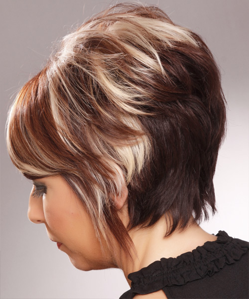 Short Straight Formal   Hairstyle with Side Swept Bangs  - Medium Brunette - Side on View