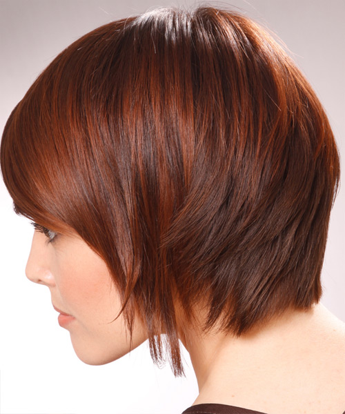 Short Straight Alternative   Hairstyle with Side Swept Bangs  - Light Brunette (Chestnut) - Side on View