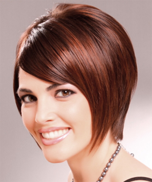 Short Straight Layered   Mahogany Brunette Bob  Haircut with Side Swept Bangs  - Side on View