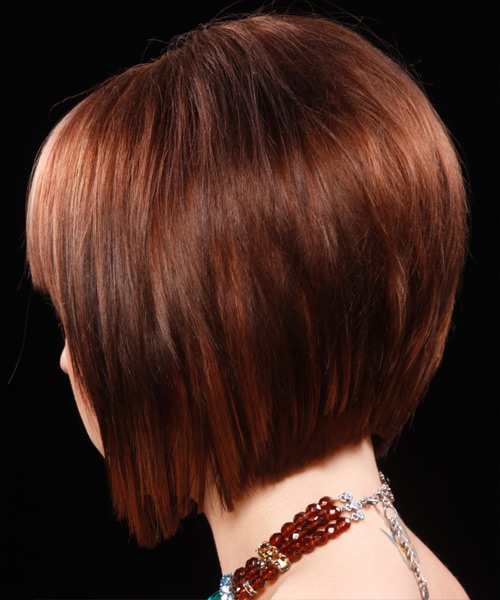 Medium Straight Formal Bob  Hairstyle with Blunt Cut Bangs  - Dark Red - Side on View
