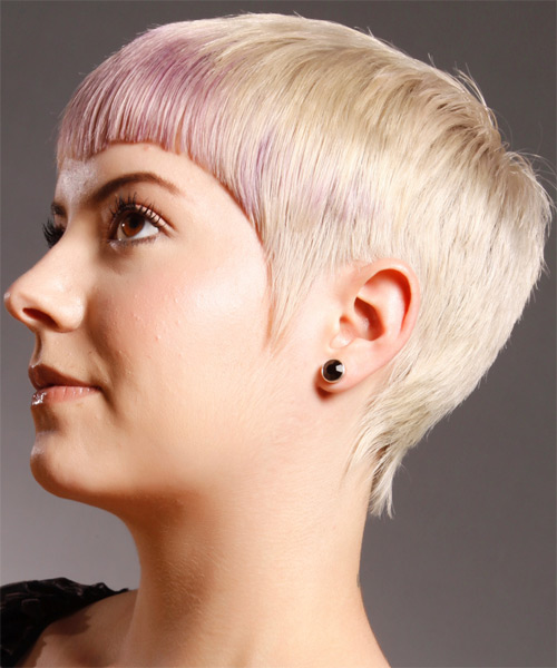 Short Straight Alternative   Hairstyle   - Light Blonde (Champagne) - Side on View