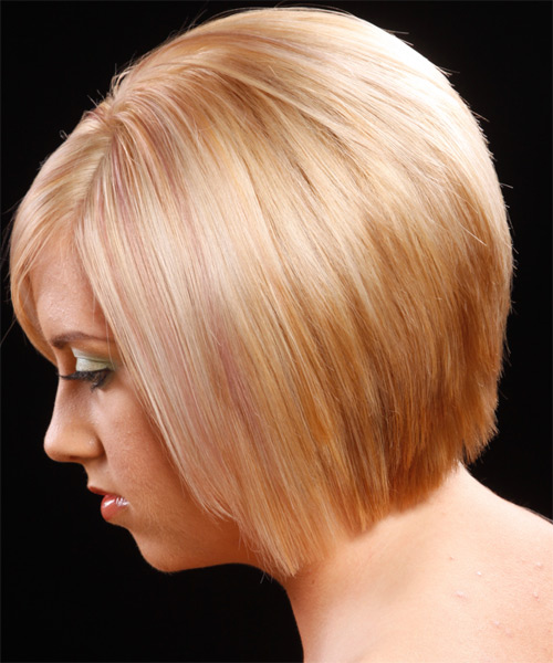 Medium Straight    Strawberry Blonde Bob  Haircut with Side Swept Bangs  - Side on View