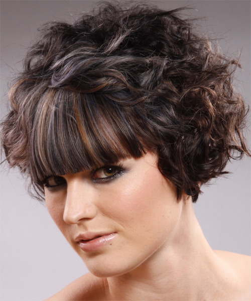 Short Wavy Alternative   Hairstyle with Blunt Cut Bangs  - Dark Brunette - Side on View