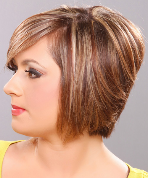 Medium Straight Formal   Hairstyle   - Dark Blonde (Golden) - Side on View