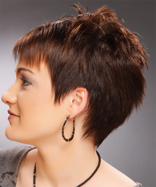 Short Straight Casual Pixie  Hairstyle   - Side on View