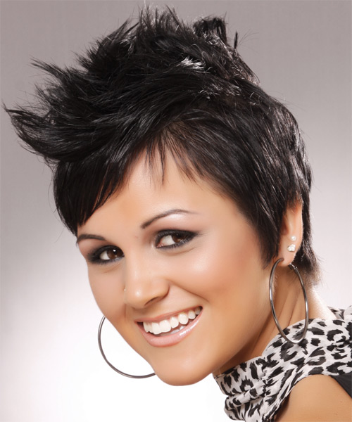 Short Straight Alternative   Hairstyle with Side Swept Bangs  - Black - Side on View