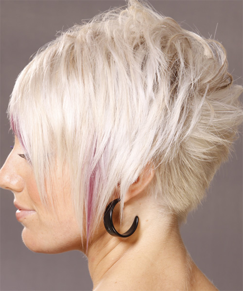 Short Straight   Light White Blonde   Hairstyle   with Pink Highlights - Side on View