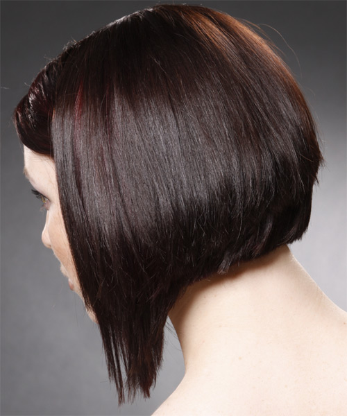 Medium Straight Alternative   Hairstyle   - Dark Brunette (Mocha) - Side on View